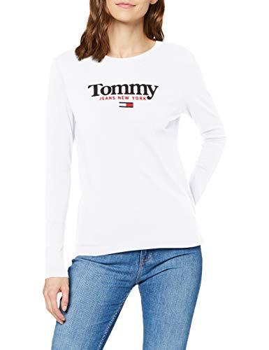 Tommy Hilfiger Tjw Essential Logo Longsleeve Camisa, Blanco, M para Mujer
