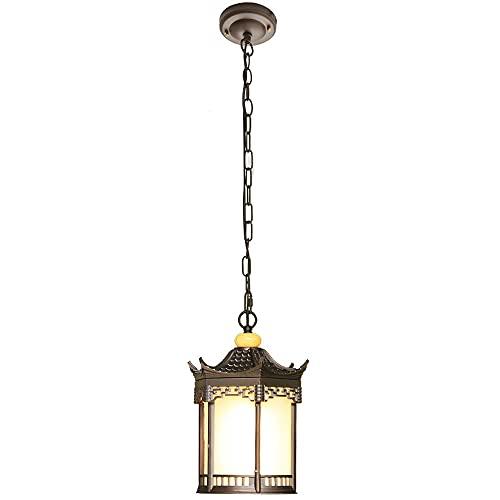 NAMFMSQ Lámpara de iluminación exterior E27 Lámpara colgante de suspensión de vidrio retro de una sola cabeza Lámpara colgante de aleación de aluminio Lámpara colgante impermeable Porche Terraza Ilumi