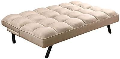 Zons Atlanta - Divano letto a 2 posti, in tessuto, 90 x 184 x 86 cm, colore: beige