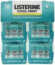 Listerine Pocketpacks 288 Breath Strips 12-24-Strip Pack Listerine Cool Mint Pocketpacks Breath Strips Kills Bad Breath Germs, Family Size Value Pack Best Seller