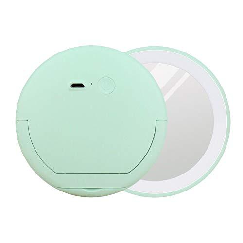 Lurrose Miroir de Maquillage LED Miroir de Poche Portatif Avec Miroir Rond avec Support pour Bague (Vert)