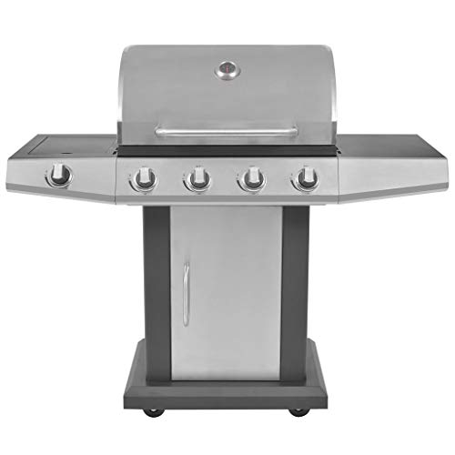 mewmewcat Gas Barbecue BBQ Grill 4 + 1 Cooking Zone with Galvanised Steel Drip Tray 132 x 61 x 118 cm Black and Silver
