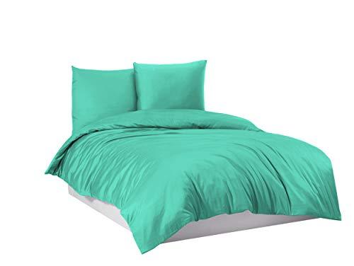 Juego de ropa de cama 100% algodón, 135 x 200 cm, 155 x 220 cm, 200 x 200 cm, 200 x 220 cm, color turquesa