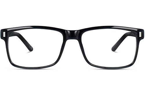 Brille mit wählbare Sehstärke (inkl. Zylinder)   Calvin   Rechteckige Brille aus Kunststoff   Schwarz   Charlie Temple