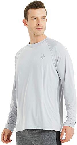 4Ucycling Maglietta da uomo a maniche lunghe, a maniche lunghe, per ciclismo, corsa, jogging, escursionismo, outdoor, protezione UV UPF 50+, Uomo, grigio., XXL