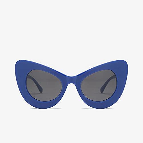YHKF Gafas De Sol De Gran Tamaño con Ojo De Gato Vintage para Mujer A La Moda, Gafas De Sol Grandes De Diseñador para Mujer, Gafas De Sol Grandes para Mujer Uv400-Blue_Black
