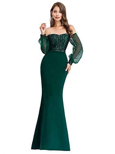 Ever-Pretty Vestido de noche con lentejuelas para mujer, con mangas largas, elegante, cola de pez de sirena, con lentejuelas 00711