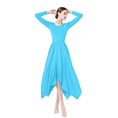 OBEEII Donna Vestito Liturgico Manica Lunga Abito da Balletto Ginnastica Body Classico Danza Combinazione Chiesa Preghiera Coro Costume Blu S