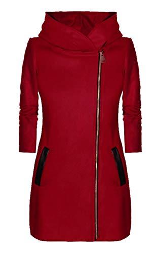 SLYZ Fall/Winter Women's New Velvet Jacket Pure Color Zipper Hood Casual Jacket Women Red