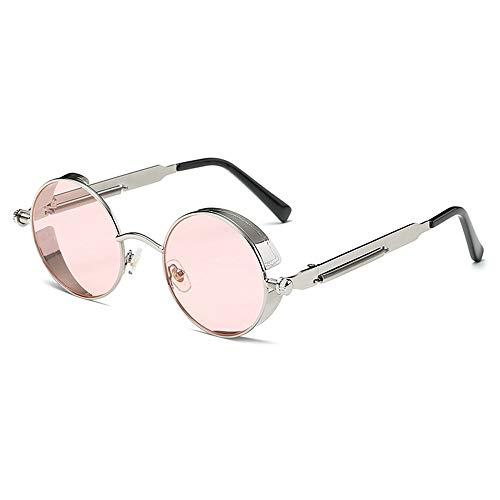 Stella Fella Gafas De Sol Polarizadas Redondas De Color Púrpura/Rosa Retro Que Conducen Gafas Hombres Y Mujeres Corriendo Pesca Viento Punk De Vapor (Color : Pink Lens)