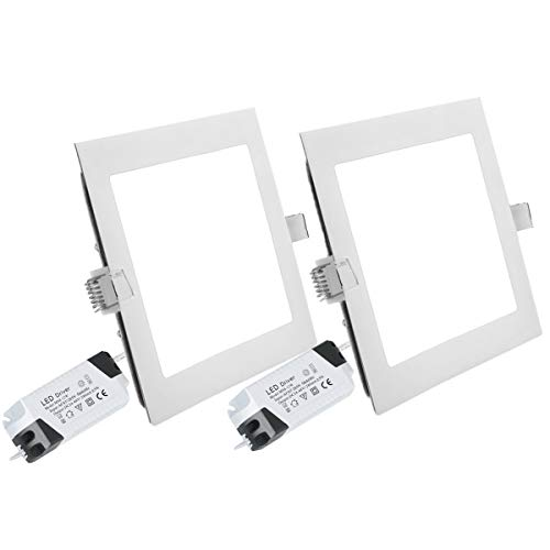 2PACK LED Deckenleuchte LED Panellampe Einbaustrahler Einbauleuchten Square 24W 4000K Neutral White LED Downlight Ultra schlanke Lampe Scheinwerfer für Küche Bad Gang Lochgröße 28.5CM