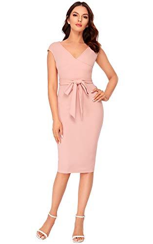 SheIn Women's Cap Short Sleeve Surplice V Neck Tie Waist Bodycon Midi Dress Pink X-Small