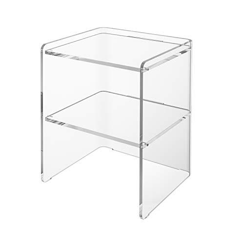 LuceSolida - 'Loop' Tavolino Comodino in plexiglass Trasparente Cristallo Acrilico