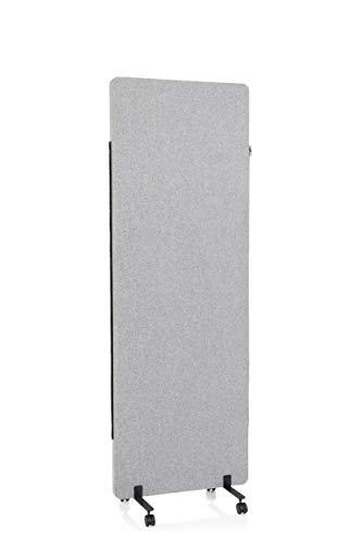 hjh OFFICE Mobile Akustik Trennwand einzeln 177 x 60 cm FLEXMIUT Stoff Hellgrau Raumteiler Mittelpanel mit Rollen & Gleiter 891004