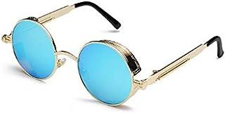 Steampunk Round Sunglasses Men Women Anti-UV Polarized Metal Frame Retro Sun Glasses Mirror UV400 Brand Design Women and M...