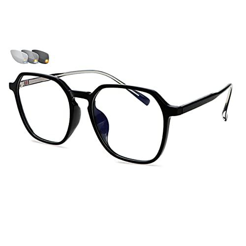 LGQ Gafas de Lectura multifocales con decoloración Inteligente, Gafas de Sol para Exteriores, Montura de Material TR, Gafas HD para Personas Mayores, dioptrías de +1,00 a +3,00,Negro,+1.50