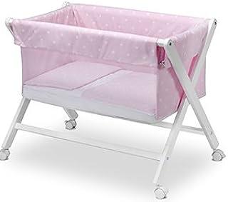 Pirulos 28213013 - Minicuna plegable tijera blanca, diseño stars, 68 x 90 x71 cm, color blanco y rosa