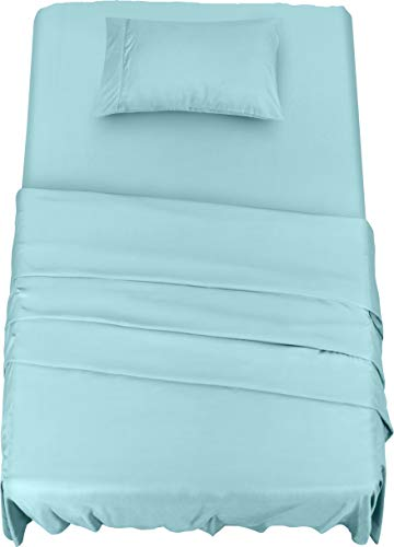 Utopia Bedding Bed Sheet Set - 3 Piece Twin Bedding - Soft Brushed Microfiber Fabric - Shrinkage & Fade Resistant - Easy Care (Twin, Spa Blue)