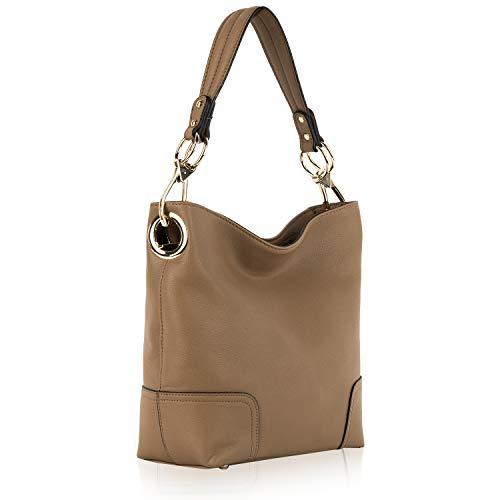 Mia K. Collection Hobo bag for Women - Satchel-Tote shoulder Bag - Vegan Leather Womens Purse Top Handle Pocketbook Handbag, Khaki