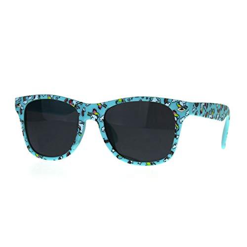 Kids Child Size Girls Unicorn Print Plastic Horn Rim Sunglasses Blue