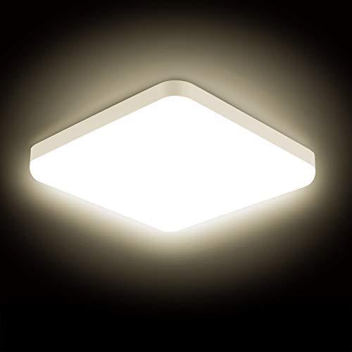 Combuh LED Lámpara de Techo 30W Impermeable IP56 Blanco Cálido 3000K 2400Lm Fácil de Instalar Plafon LED para Cocina, Baño, Oficina, Porche, Garaje Cuadrado Ø25Cm