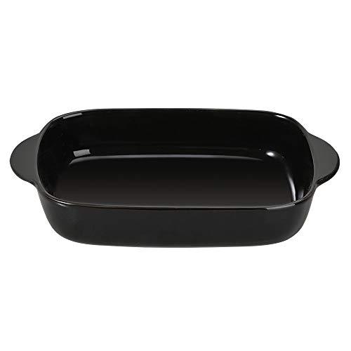 Black Small Ceramics Rectangular Baking Dishes with Handle for Oven Ceramic Baking Pan Lasagna Casserole Pan Individual Bakeware 9.1x4.9 inch