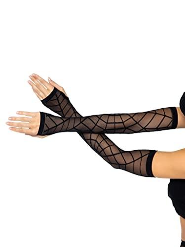 Leg Avenue Women's One Size Sheer Spiderweb Arm Warmers, Black