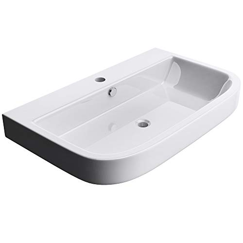 Mai & Mai: Aufsatzwaschbecken Hängewaschbecken Waschplatz, Waschschale Brüssel5021, mit Nano-Beschichtung, weiß, aus Keramik
