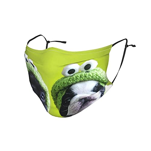 French Bulldog with Frog Hat Adult Dust Mask with Belt Filter Windproof Breathable Face Covering Masks Black