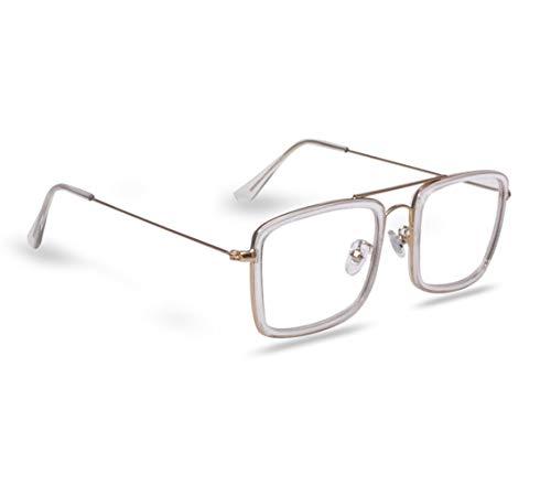Roshfort Unisex Square Full Rim Transparent Lens Spectacles Golden Frame