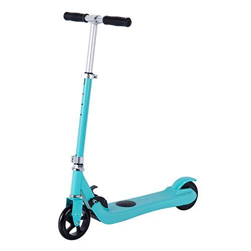 Scooter eléctrico para niños de 6 a 12 años, con sensor de gravedad Kick Start Scooter motorizado para niñas y niños pequeños, altura ajustable, plegable, ruedas ligeras de 5.75 pulgadas (azul)