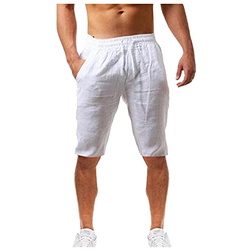 UOKNICE MEN-TOPS Mens Linen Casual Drawstring Beach Shorts with Elastic Waist,Summer Casual Fashionable Solid Color Relaxed fit Workout Athletic Gym Lightweight Quick-Drying Shorts White