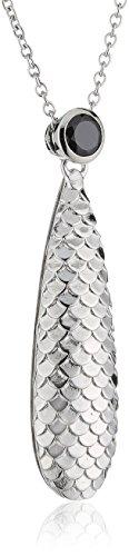 caï women Damen Halskette 925 Sterling Silber rhodiniert Zirkonia 45 cm schwarz C1402N/90/43/45