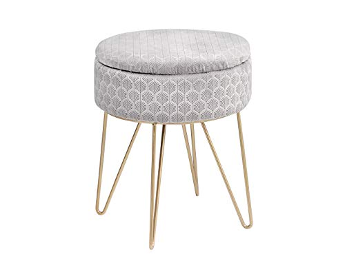 TMEE Velvet Ottoman Storage Stool Footstool Seat Foot Rest 4 Golden Metal Legs with Non-slip Pad Children's Ottoman 34x42cm for Living Room Bedroom(Grey)