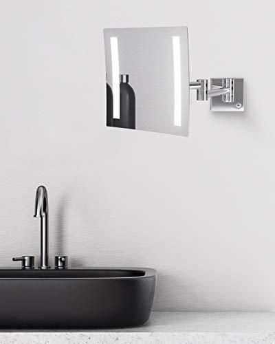 TALOS Milos - Espejo de Maquillaje con iluminación LED (20 x 20 cm, Espejo de Afeitado con 3 aumentos, Cambio de Color de luz de Dos Niveles (luz Blanca cálida/Blanca fría), Montaje en Pared
