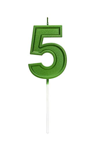 2.76 Inches Large Number Candles Birthday Candles Cake Numeral Candles Topper Decoration for Birthday Celebration Reunions Anniversary Party Supplies (Green Number 5)