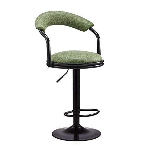 Taburete de bar Altura de mostrador giratorio taburete giratorio antiguo asiento de cuero de cocina y el hogar taburetes con respaldo de altura ajustable for taburetes de cocina ( Color : Green )