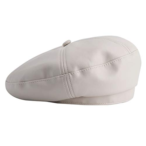 Hong Yi Fei-Shop Sombrero de la Boina de la Boina del Casquillo Octagonal gorritas Color sólido Casual Ligero Cuero de la PU de la Mujer Vestido Beanie (Color : White)