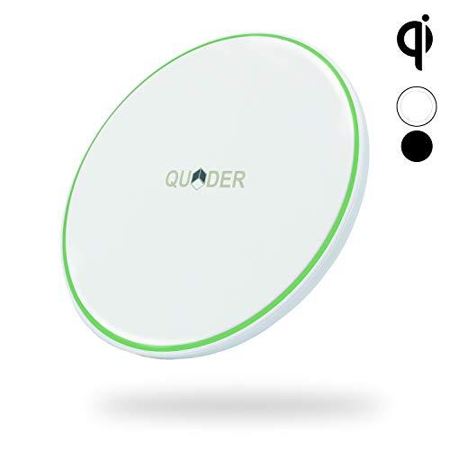 QUDER® Wireless Charger 10 Watt für Samsung - kleines QI Ladegerät fürs iPhone - induktive Ladestation fürs Büro in edlem weiß - kabellos Laden