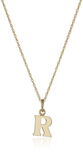 14k Yellow Gold-Filled Letter 'R' Charm Pendant Necklace, 18'