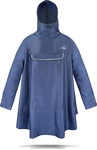 normani Regenponcho mit Ärmeln und Brusttasche für Damen und Herren [S-3XL] -YKK Brusttasche und 3M™ Scotchlite™ Reflektor Farbe Navy Größe S/M