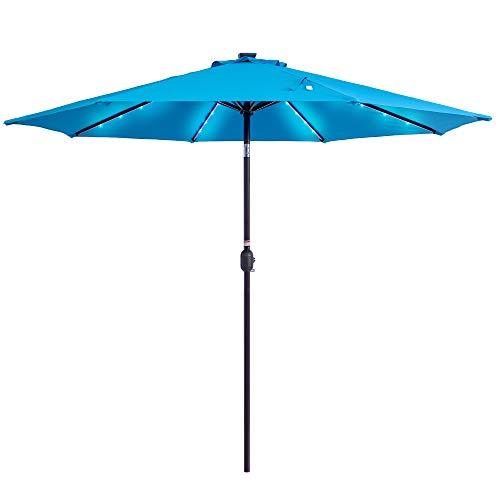 Sundale Outdoor Solar Powered 32 LED Lighted Patio Umbrella Table Market Umbrella with Crank and Push Button Tilt for Garden, Deck, Backyard, Pool, 8 Steel Ribs, 9 Feet (Blue)