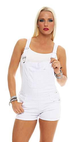 Fashion4Young 11041 Damen Latzhose Hotpants Shorts Jeans Kurze Hose Baumwoll-Latzhose (S=36, Weiss)