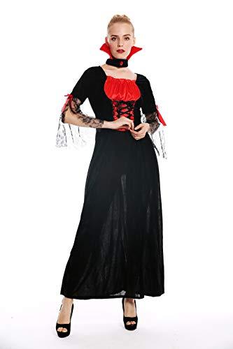 dressmeup - W-0279 Disfraz mujer feminino Halloween Carnval hada malvada bruja vampira vestido largo negro rojo Talla M