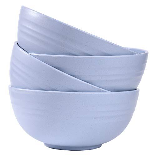 Lot de 4 bols incassables en paille de blé - Qualité alimentaire - Légers et réutilisables - Pour enfants et adultes