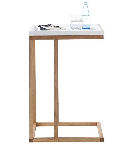 Riverside Beistelltisch | Tisch in weiß matt lackiert und Eiche massiv geölt Couchtisch 45 x 70 x 35 cm