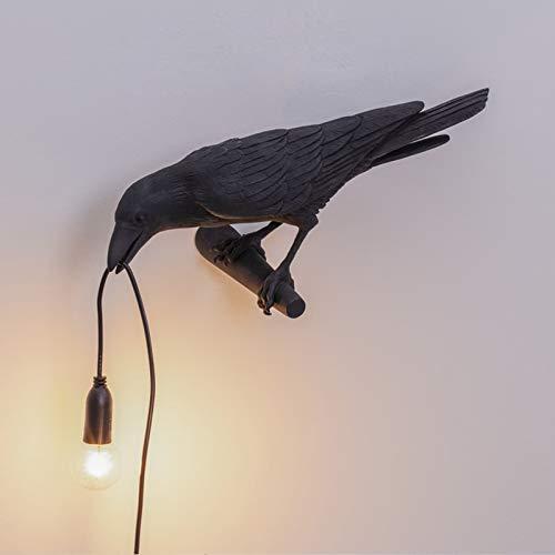 Lampe De Table LED Oiseau Lumière Italienne Seletti, Lampe Murale Créative Moderne Oiseau LED Chambre Chevet Luminaires Applique Murale en Résine USB,Noir,Wall Right