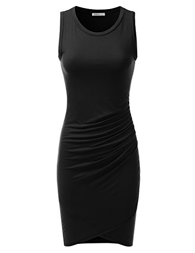 Doublju Stretchy Fitted Tulip Hem Tank Dress for Women with Plus Size Made in USA Black Medium