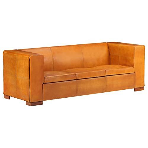 Tidyard Sofá de 3 plazas Sofás de Salón Sofás Vintage Cuero Auténtico Marrón Canela 195 x 72 x 69 cm