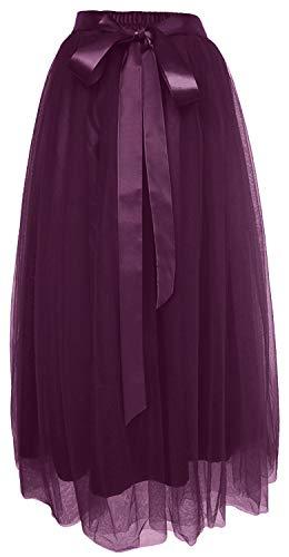 Dancina Women's Ankle Length Tutu Maxi A-line Long Tulle Skirt for Dates Weddings Plus (Size 12-22) Dark Purple